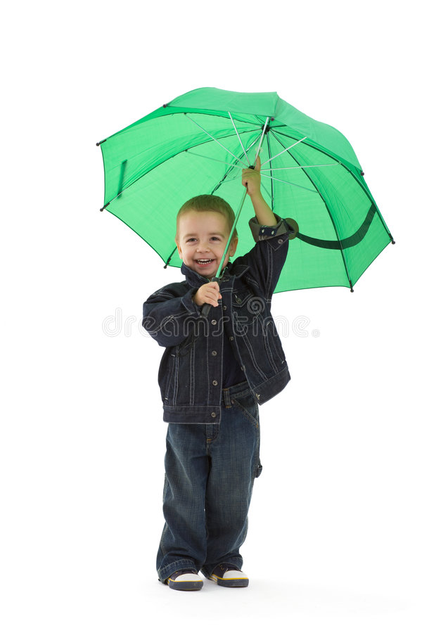 Little boy with umbrella royalty free stock images