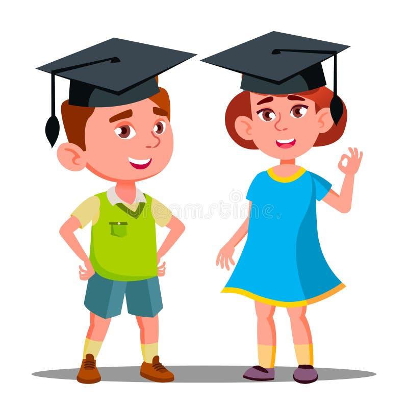 Little Boy und Mädchen im großen graduierten Kappen-Vektor Getrennte Abbildung stock abbildung