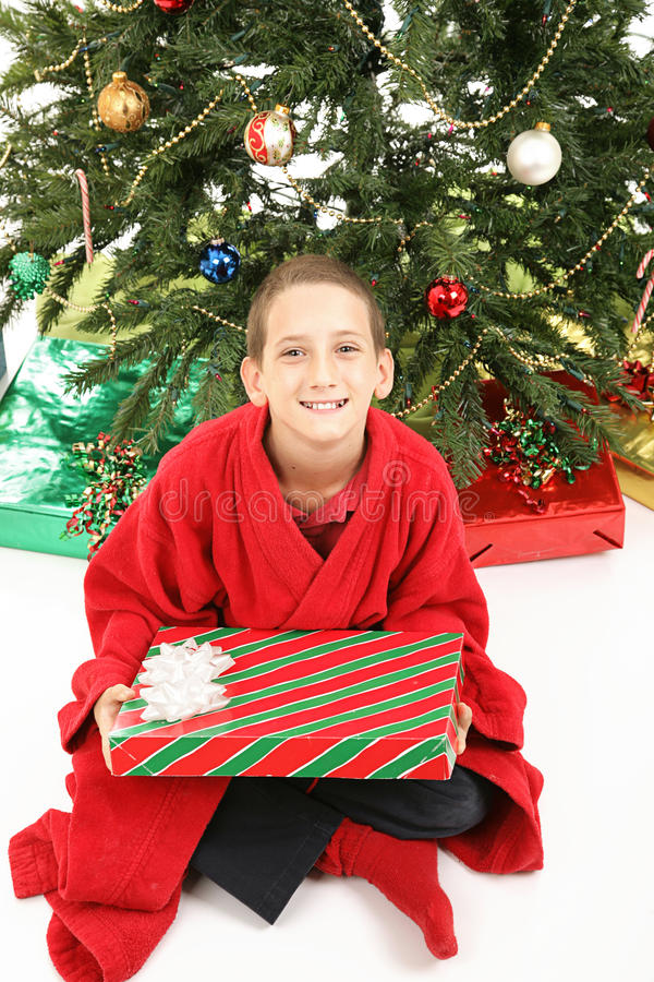 Little Boy Under Christmas Tree with Gift royalty free stock photo