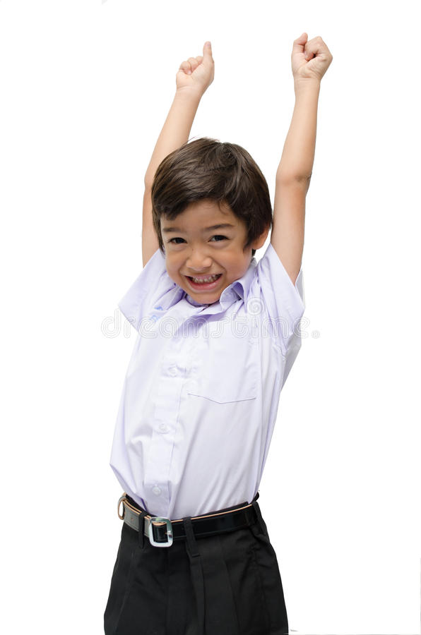 Little boy in uniform ready for school hands up isolated. Little boy in uniform ready for school hands up stock image
