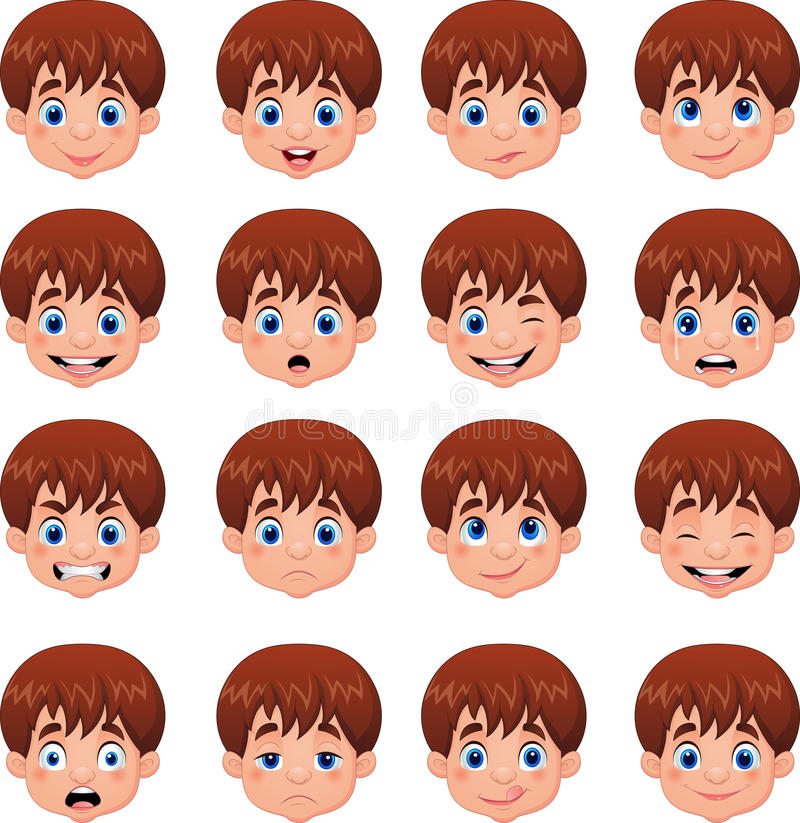 Little boy various face expressions royalty free illustration