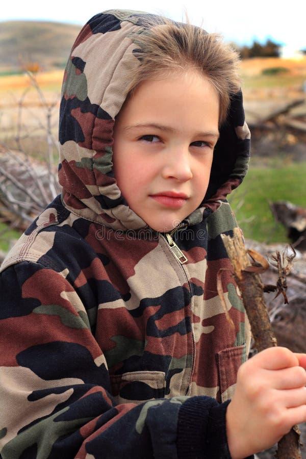 Little Boy w Camo Hoodie zdjęcia stock