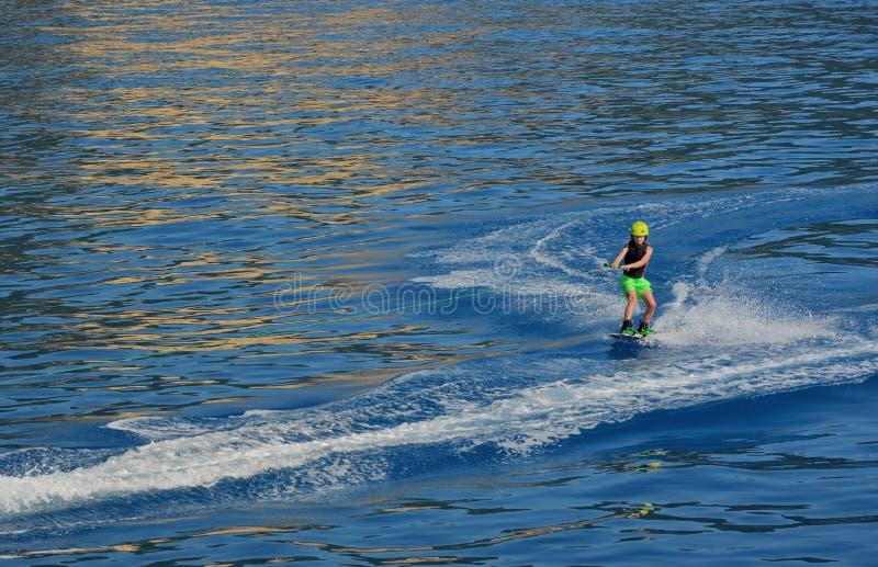 Little boy Wakeboarding stock photo