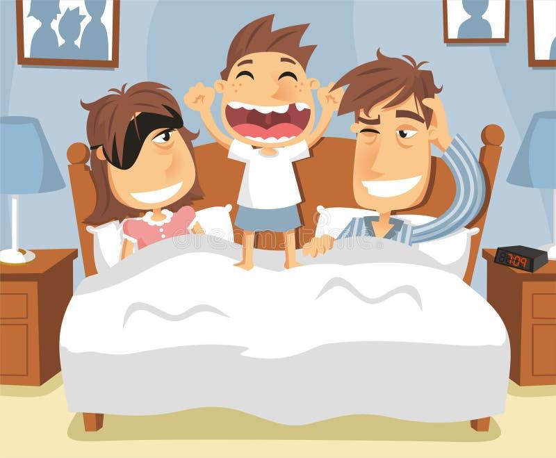 Little boy waking up stock illustration