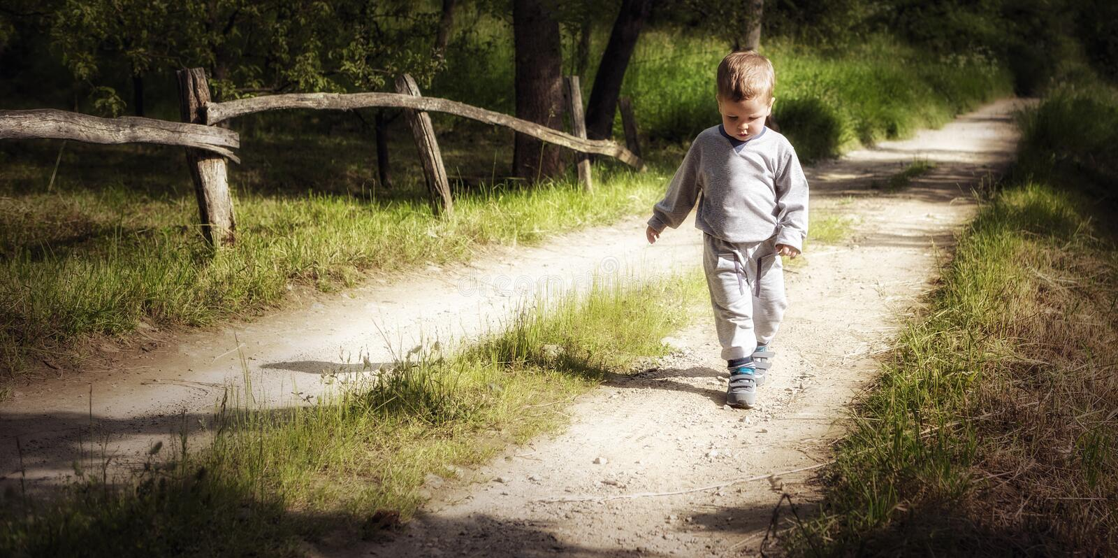 Little boy walking on a country road stock photography