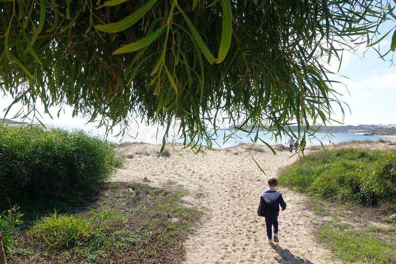 Little boy walking to the beach royalty free stock photo