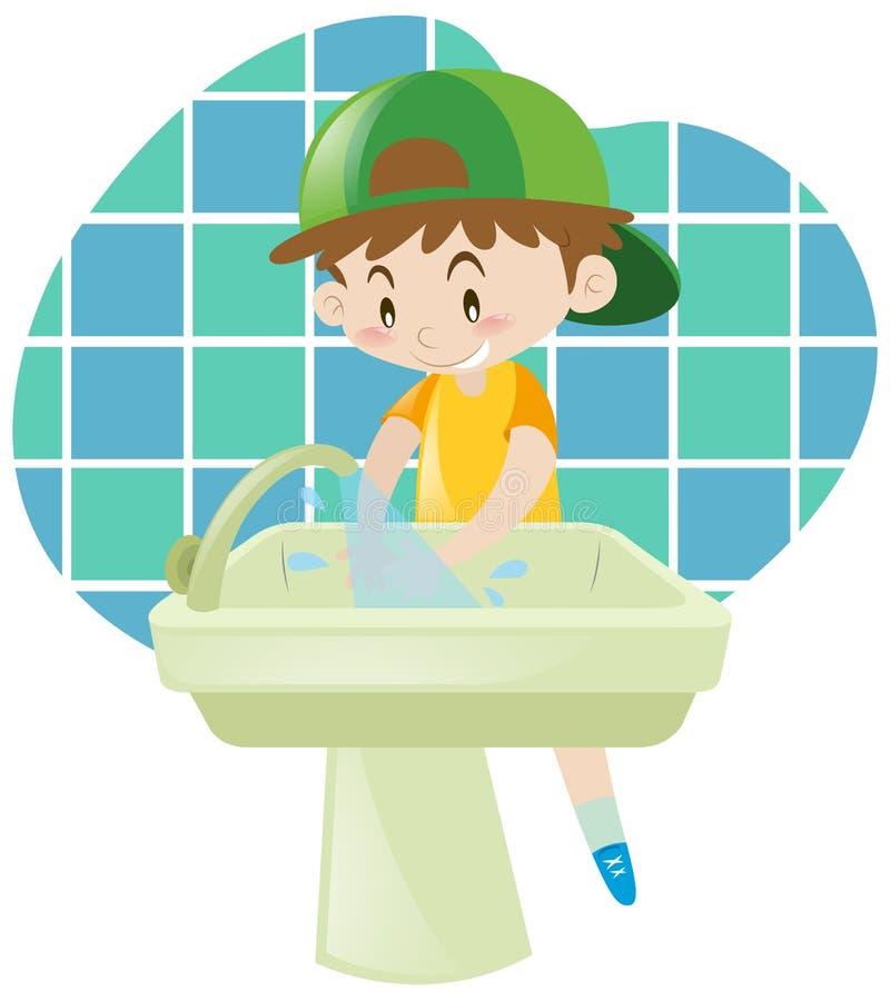 Little boy washing hands. Illustration royalty free illustration