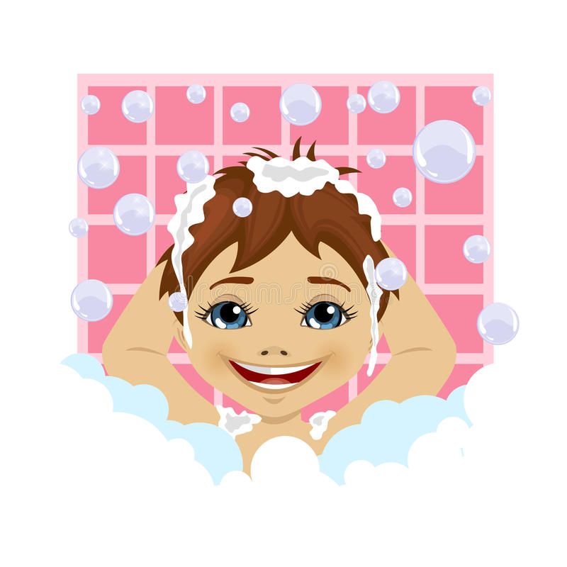 Little boy washing his hair with soap foam and bubbles in bathroom. Little boy washing his hair with soap foam and bubbles in the bathroom royalty free illustration