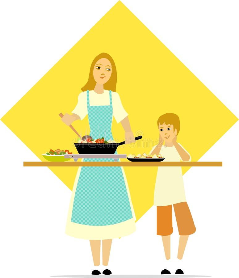 Little boy watches mom cooking royalty free stock photography