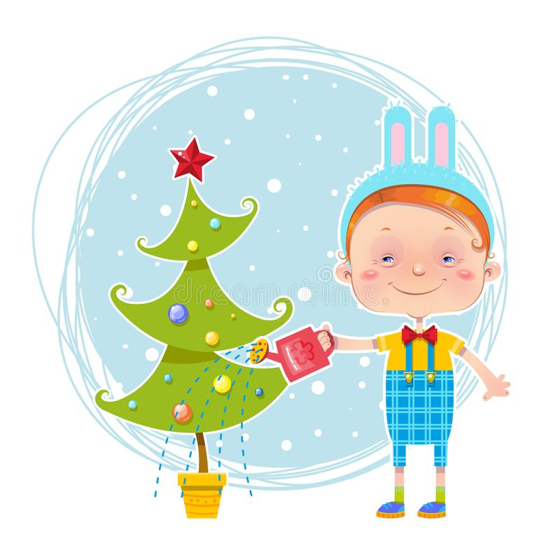 Little boy is watering a Christmas tree royalty free stock photo