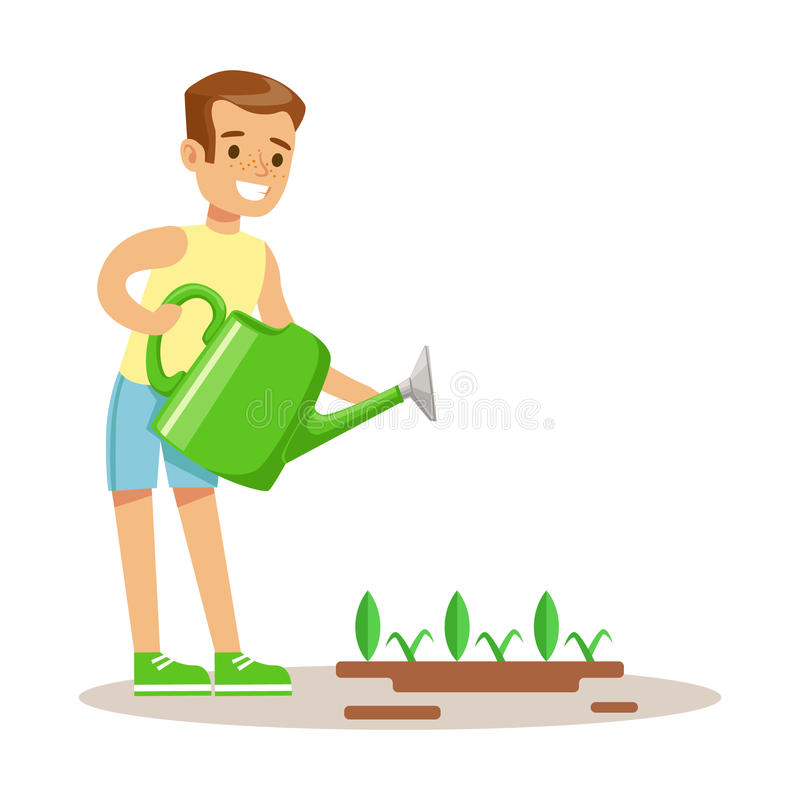 Free Little Boy Watering Garden Plant WIth Watering Can, Part Of Grandparents Having Fun With Grandchildren Series Royalty Free Stock Photos - 86114988