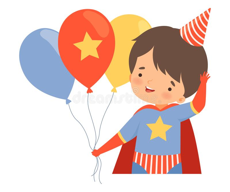 Little Boy Wearing Costume and Birthday Hat Carrying Bunch of Balloons Vector Illustration stock illustratie