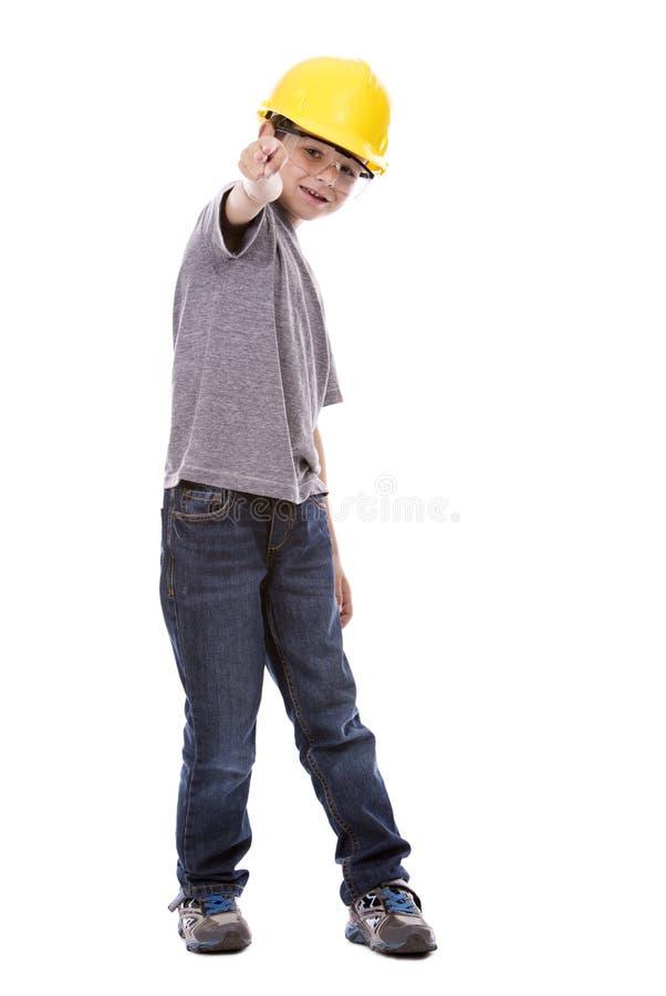 Little boy wearing helmet royalty free stock photos