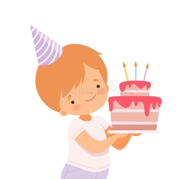 Little Boy Wearning Birthday Hat Carrying Cake with Candles Vector Illustration stock illustratie