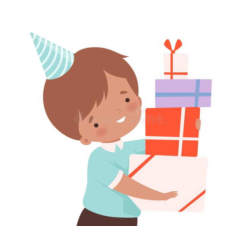 Little Boy Wearning Birthday Hat Carrying Pile of Gift Boxes Vector Illustration royalty-vrije illustratie
