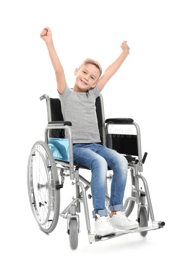 Little boy in wheelchair royalty free stock photo