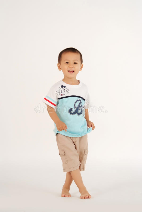 little boy on white background stock photography