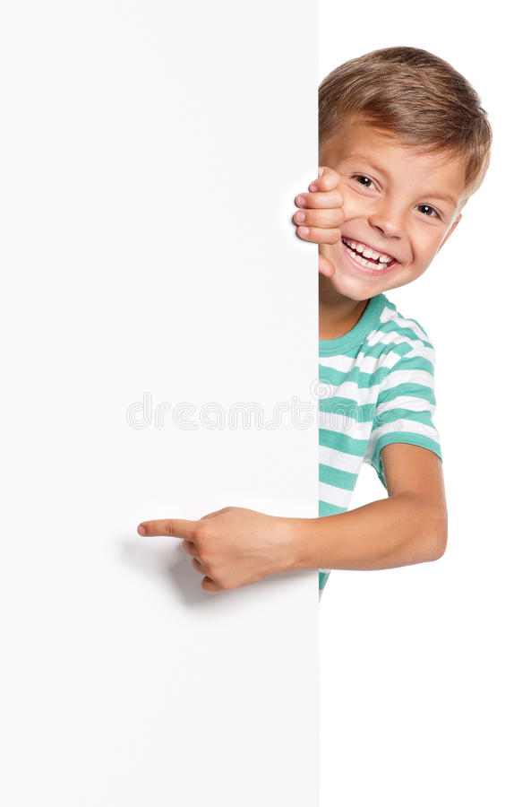 Little boy with white blank. Portrait of happy little boy with white blank isolated on white background royalty free stock photo