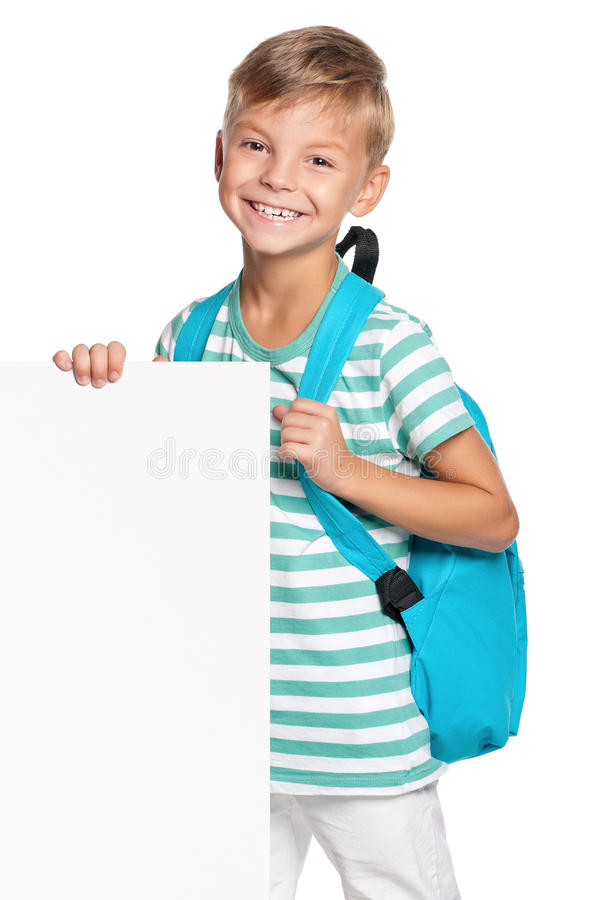Download Little Boy With White Blank Stock Image - Image: 26800097