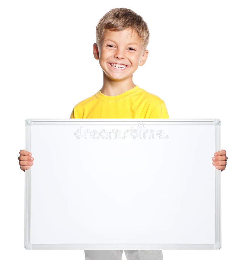 Little boy with white blank royalty free stock photo
