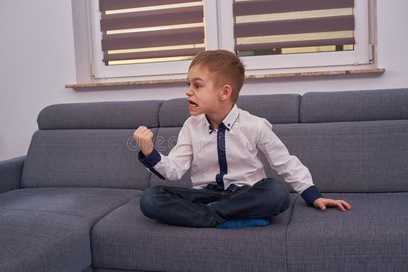 Upset little boy stock photography