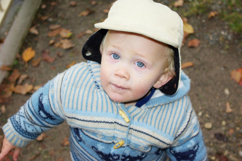 Little boy in winter clothing royalty free stock image