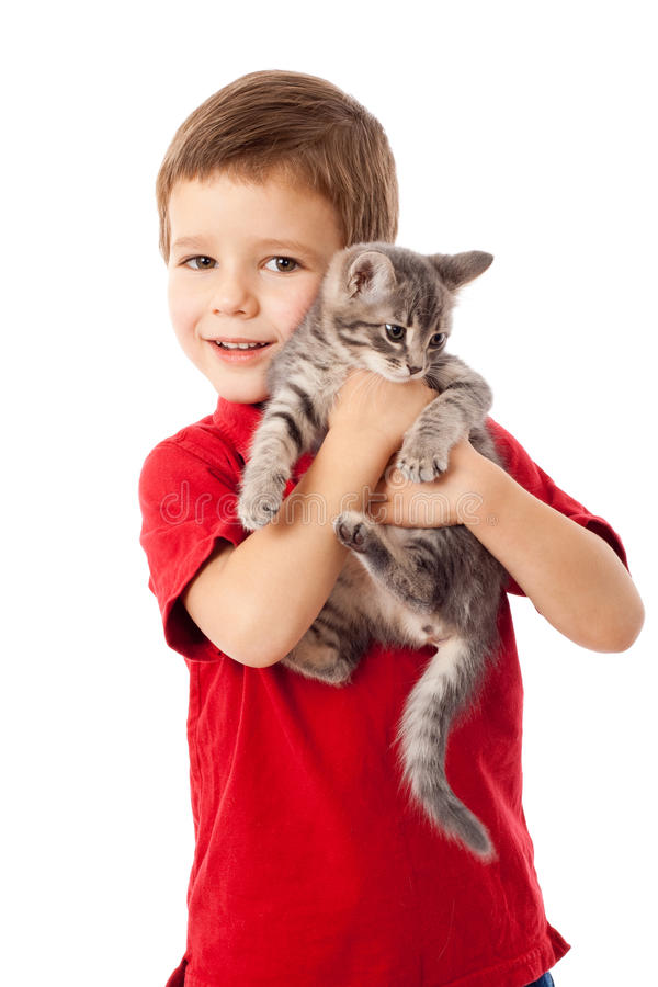 Free Little Boy With Gray Kitty In Hands Royalty Free Stock Image - 21957516