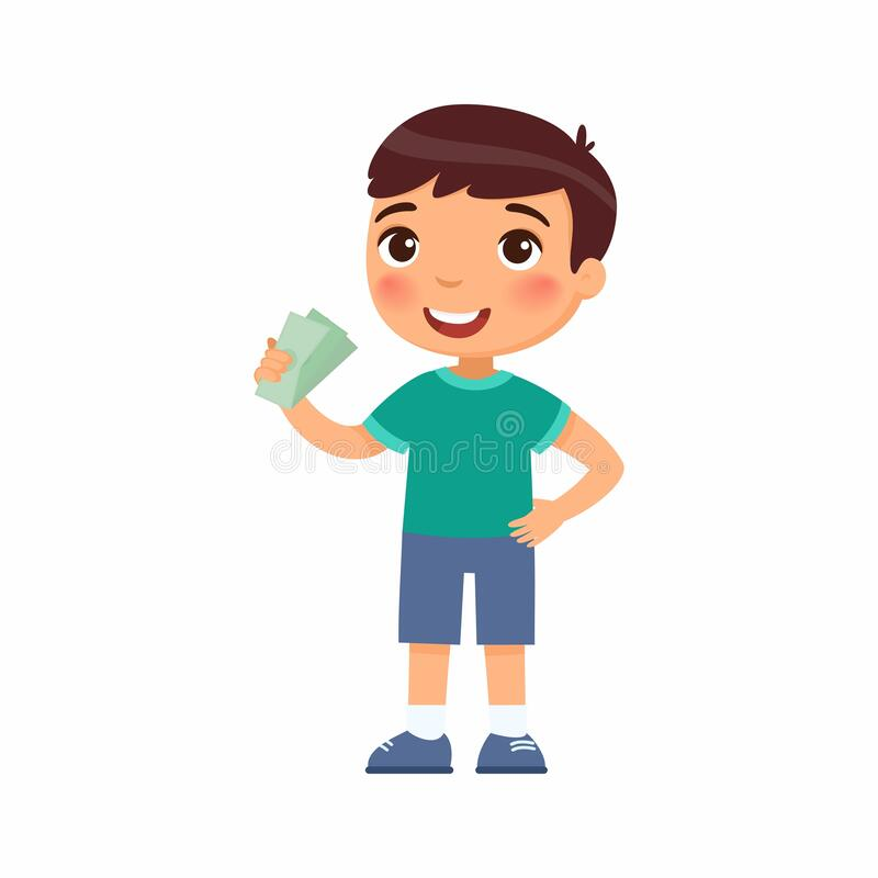 Free Little Boy With Money In Hand Flat Vector Illustration. Rich Happy Child Holding Banknotes Cartoon Character. Royalty Free Stock Images - 190651179