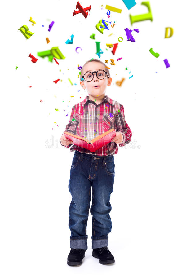 Little boy wondering of flying letters stock image
