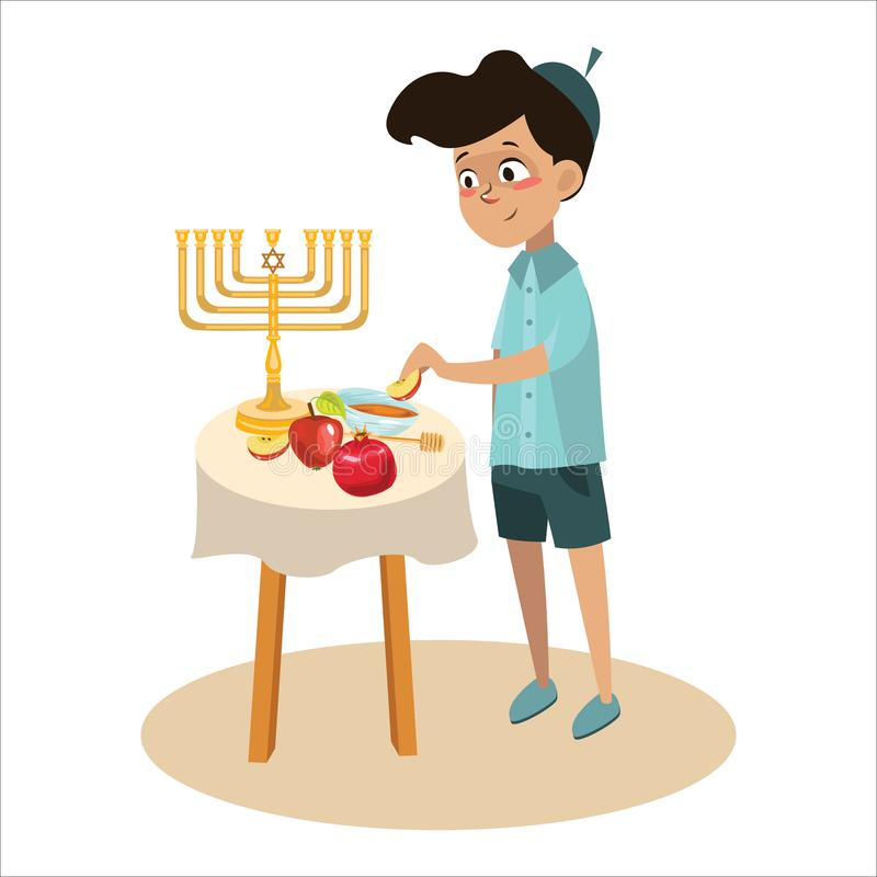 Little boy in yarmulke eat apple with honey, Jewish children dipping apple slices into honey on Rosh HaShanah. Happy. Family celebrate Jewish New Year vector royalty free illustration