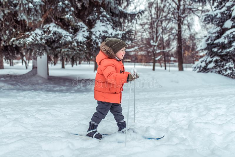 Little boy 3-5 years old, in winter on children`s rides snow of snowdrifts of green forest and Christmas trees. Happy. First steps in sport. Weekend fun concept royalty free stock photos