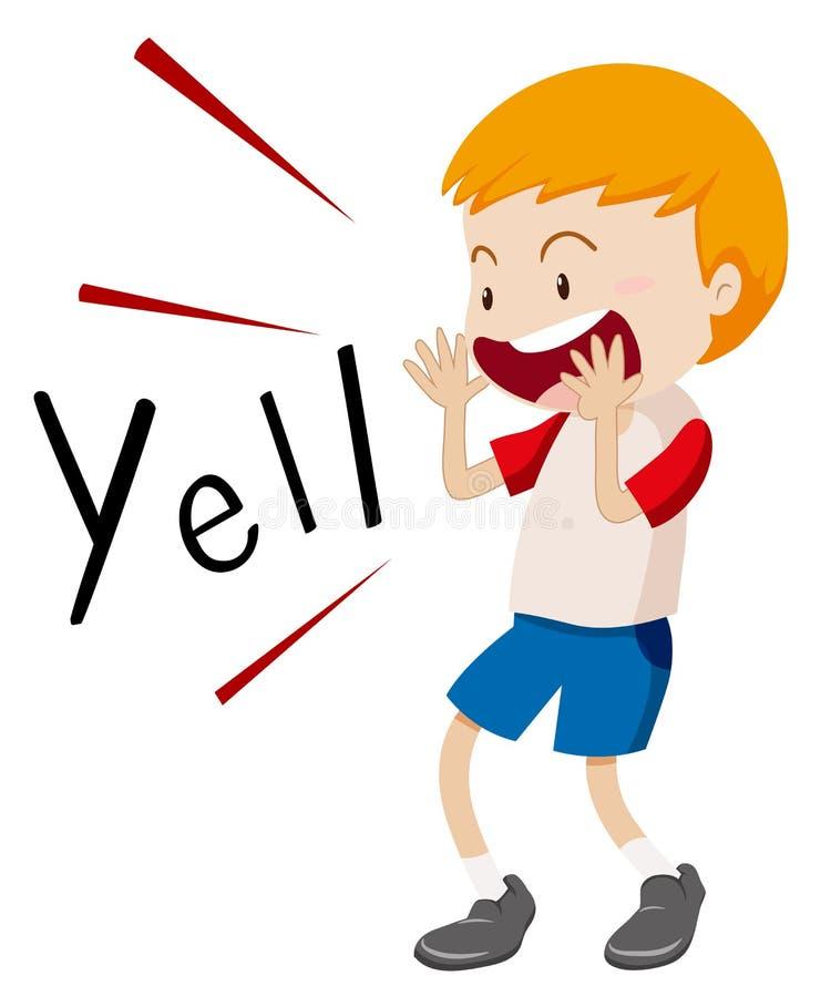 Little boy yelling out. Illustration royalty free illustration