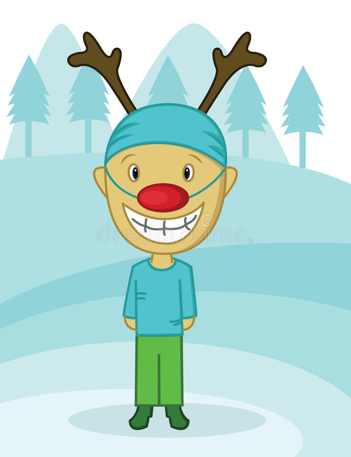 Little Boy z Rudolf kostiumem ilustracja wektor
