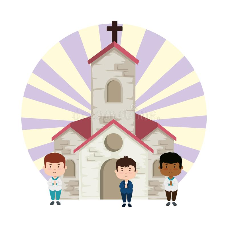 Little boys in church first communion characters royalty free illustration
