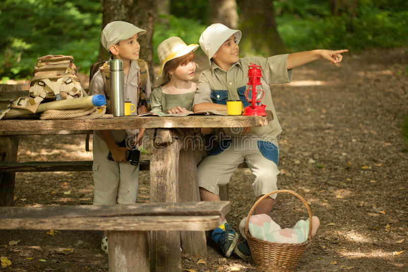Little boys and girl on hiking with backpack in forest. Summer camps,scout children in nature royalty free stock photography