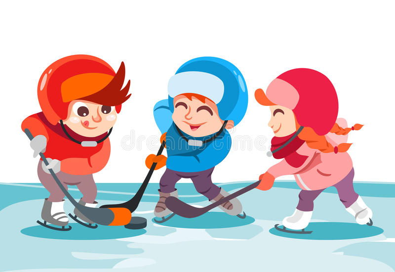 Little boys and girl playing hockey on ice rink in park. stock illustration