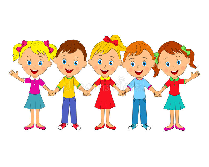 Little Boys And Girls Holding Hands Stock Vector
