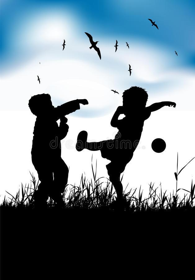 Download Little Boys Playing With Ball On Summer Field Stock Vector - Illustration: 14141204