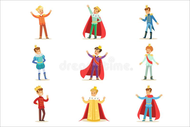 Little Boys In Prince Costume With Crown And Mantle Set Of Cute Kids Dressed As Royals Illustrations. Fairy-tale Stories Heroes Costumes On Small Happy vector illustration