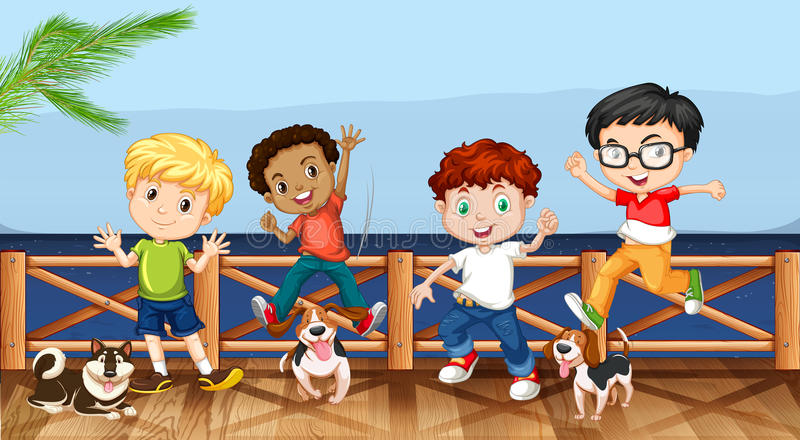 Little boys and their pet dogs royalty free illustration