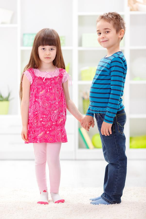 Little brother with his sister royalty free stock photography