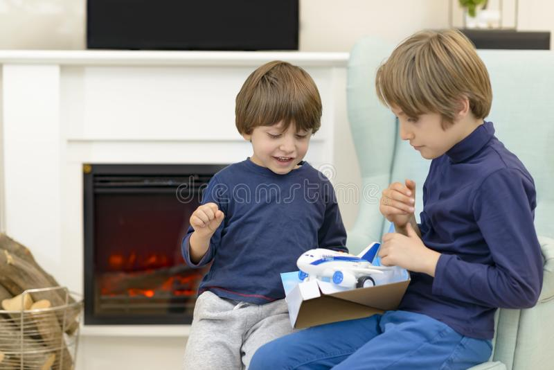Little Brother Receiveing Gift royalty free stock images