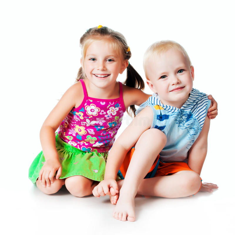 Little brother and sister royalty free stock photos