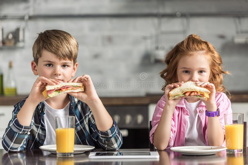 little brother and sister eating sandwiches and looking stock photo