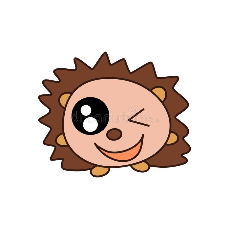 Little brown kawaii hedgehog is standing on its paws, smiling and winking with one eye. Vector flat icon, animal logo. royalty free illustration