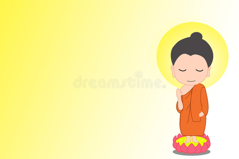 Little Buddha cartoon vector illustration