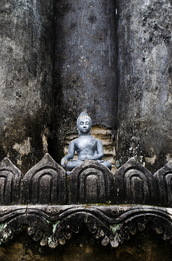 Little Buddha Image on ancient Brick Pagond, TH. stock photography