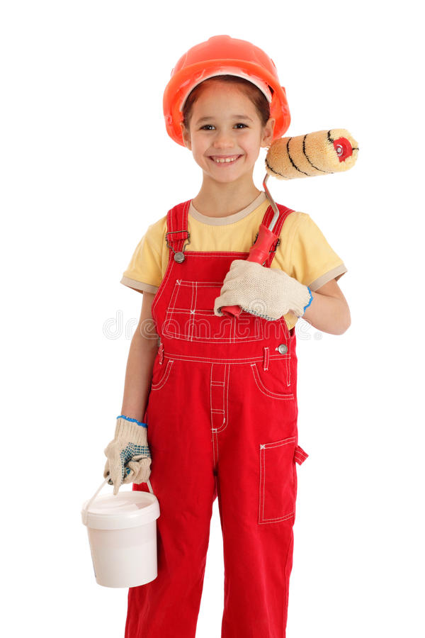 Little builder in coveralls with paintroller. Little smiling builder in coveralls with paintroller and can, isolated on white royalty free stock photos