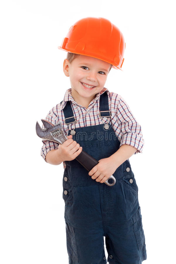 Download Little Builder In Helmet With Wrench Stock Image - Image: 23034639