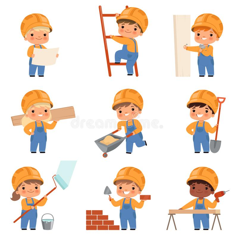Little builders. Childrens with construction tools making job working builders in yellow helmet vector characters stock illustration